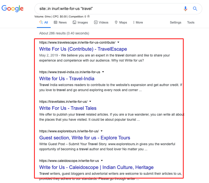 google footprint for guest post outreach